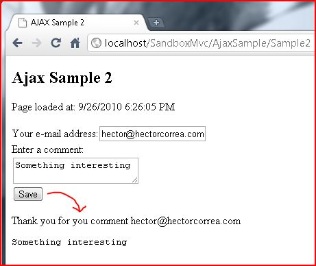 Ajax Sample 2 screenshot