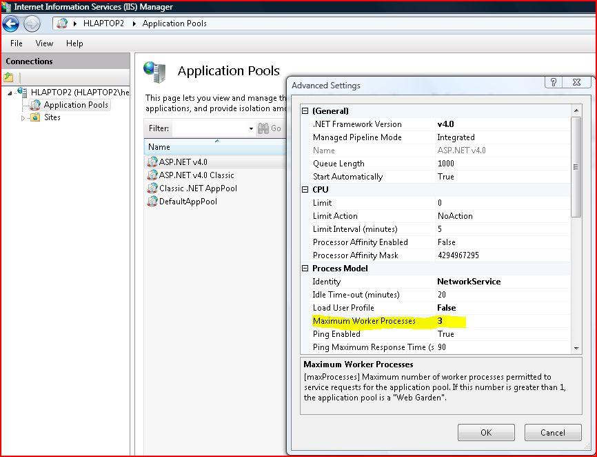 IIS Maximum Worker Processes Configuration