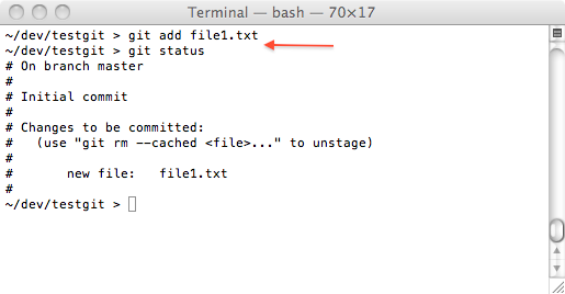 git one file added