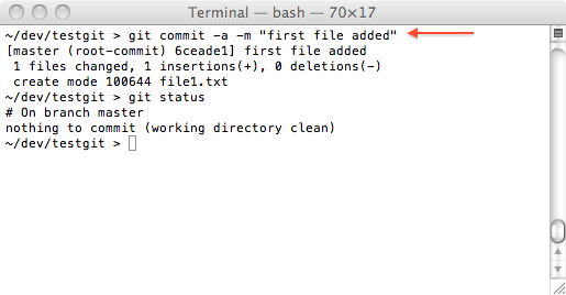 git one file committed
